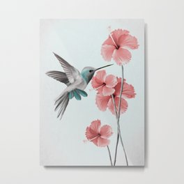 Hummingbird with Hibiscus Metal Print