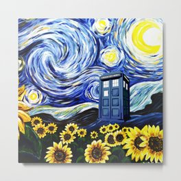 tardis staryy night  Flower Metal Print