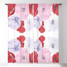 Anemones, floral watercolor painting Blackout Curtain