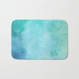 Blue Green Turquoise Watercolor Texture Bath Mat
