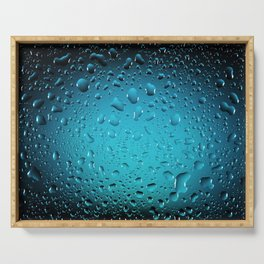 Stylish Cool Blue water drops Serving Tray