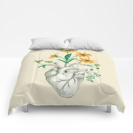 Floral Heart: Sunflower Human Anatomy Comforters