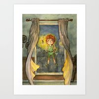 peter pan Art Prints featuring Peter Pan by Allyson Kelley