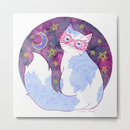 Witch Cat with Glasses Metal Print