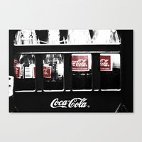 coca cola Canvas Prints featuring coca cola by Crimson Crazed