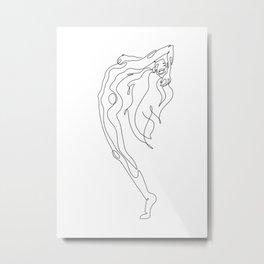 Minimal one line art poster of woman's figure Metal Print