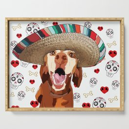 Cinco de Vizsla Dog Serving Tray