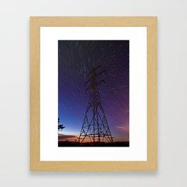Power line and star trails Framed Art Print