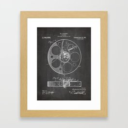 Film Reel Patent - Classic Cinema Art - Black Chalkboard Framed Art Print