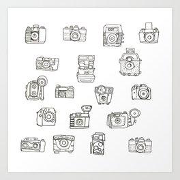 Cameras: Black Art Print
