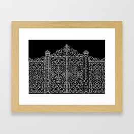 French Wrought Iron Gate | Louis XV Style | Black and Silvery Grey Framed Art Print