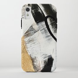 Armor [9]: a minimal abstract piece in black white and gold by Alyssa Hamilton Art iPhone Case