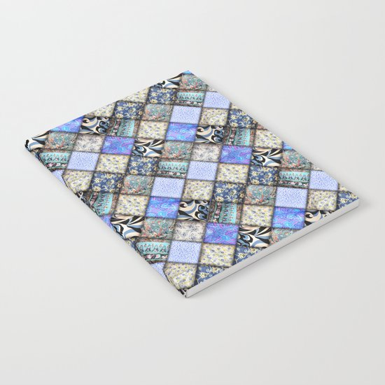 Faux Patchwork Quilting - Blues Notebook