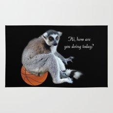 Cute ring tail monkey and basketball, soccer ball. Animal photo art. Rug
