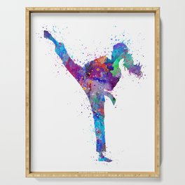 Karate Girl Colorful Martial Arts Gift Watercolor Art Serving Tray