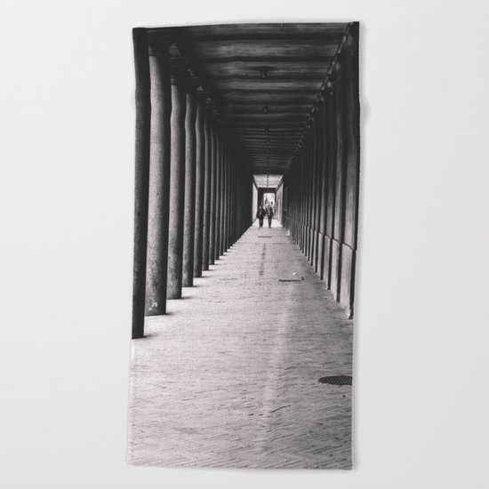 Arcade with columns in Copenhagen, architecture black and white photography Beach Towel