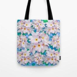 Plumeria Bouquet Exotic Summer Pattern Tote Bag