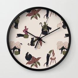 Playing black cat home Wall Clock