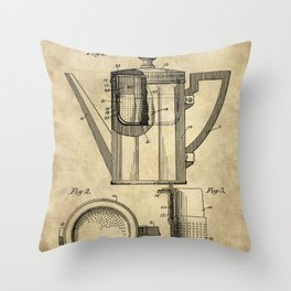 Coffee Pot Blueprint Throw Pillow