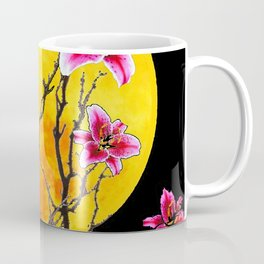 EXOTIC FUCHSIA STAR GAZER PINK LILIES MOON ART Coffee Mug