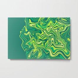 Liquid Green Agate Slice Metal Print