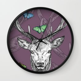 Scottish Stag, butterflies, pen and ink illustration, purple Wall Clock