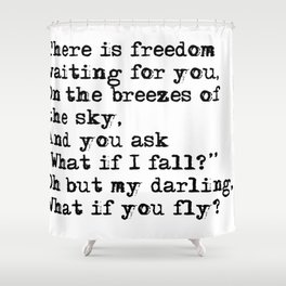 What if you fly? Vintage typewritten Shower Curtain