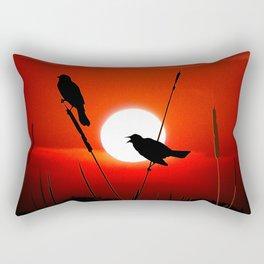 Blackbirds On Red Sunset. Rectangular Pillow