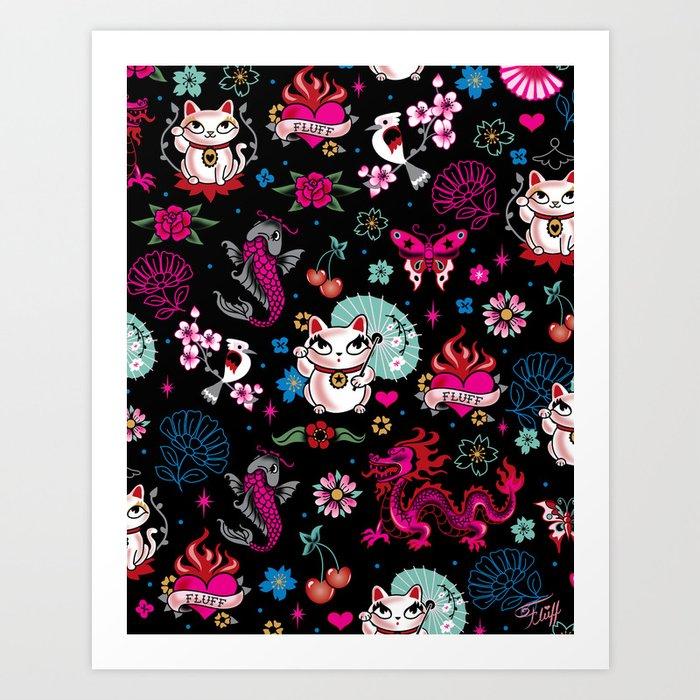 Lucky Cat Maneki Neko , Dragons and Koi fish Art Print