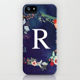 Personalized Monogram Initial Letter R Floral Wreath Artwork iPhone Case
