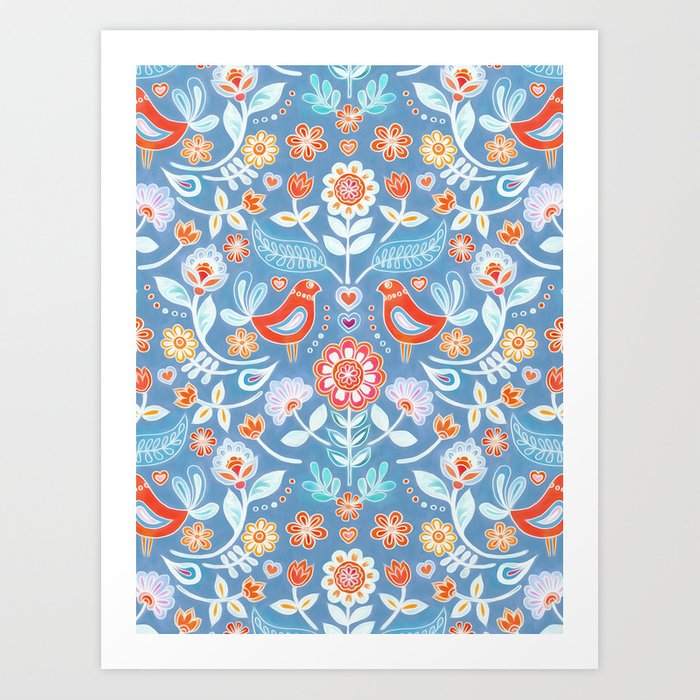 Happy Folk Summer Floral on Light Blue Art Print
