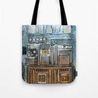 cityscape Tote Bags featuring Cityscape by Maureen Mitchell