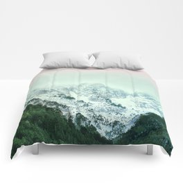 Snowy Winter Mountain Landscape with Alpenglow Comforters