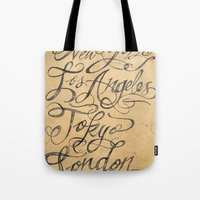 cities Tote Bags featuring freehand cities by Vin Zzep