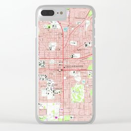 Tallahassee Florida Map (1970) Clear iPhone Case