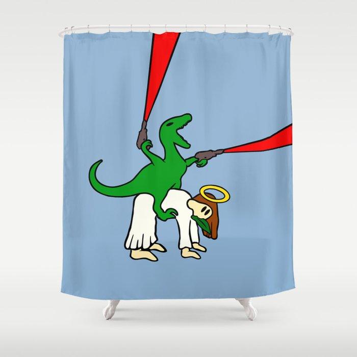 Dinosaur Riding Jesus Shower Curtain