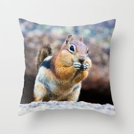 Eating chipmunk Throw Pillow