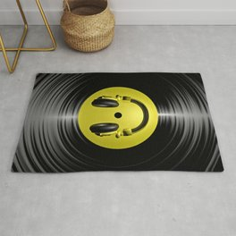 Vinyl headphone smiley Rug