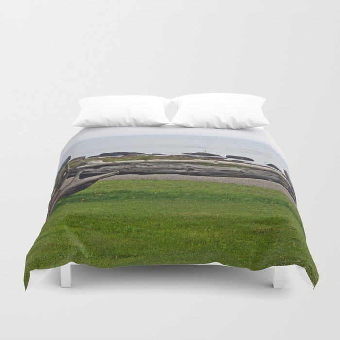 Driftwood Fence and the Sea Duvet Cover
