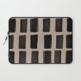 Brush Strokes Vertical Lines Black on Nude Laptop Sleeve