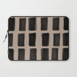 Brush Strokes Vertical Lines Black on Nude Laptop Sleeve