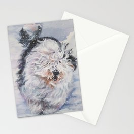 Old English Sheepdog dog art from an original painting by L.A.Shepard Stationery Cards