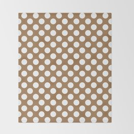 Brown and white polka dots Throw Blanket