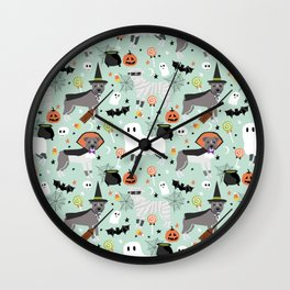 Pitbull halloween costumes pet portrait fall october cute trick or treat pitbulls Wall Clock