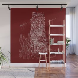 Shoetree in Deep Red Wall Mural
