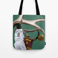 larry Tote Bags featuring Larry Sanders by Jen Hynds