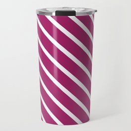 Purple Plum Diagonal Stripes Travel Mug