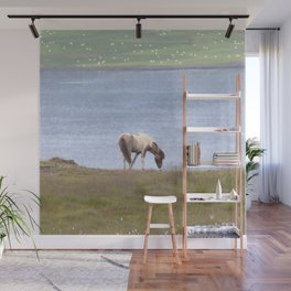 Watercolor Horse 08, Icelandic Pony, Along the Shore of Eyjafjörður, Iceland, Dinner with a View Wall Mural