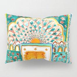Jaipur Pink Peacock Door Watercolor City Palace Rajasthan India Pillow Sham