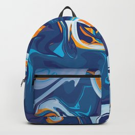 Blue and Orange Marble Pattern Backpack